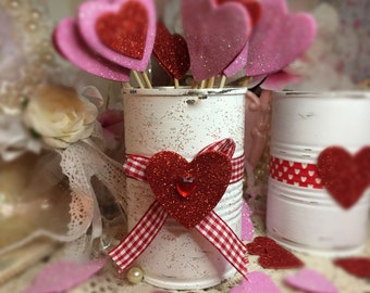 Valentines Day Decor White Painted Small Tin Can Red Glitter Love Heart Vase Centerpiece Candy Holder Gift Box Candle Party Decorations