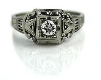 "Rare  Diamond Ring Estate Diamond Ring 1930's Old European Cut Diamond Engagement Wedding Anniversary Ring 18K White Gold ""The Courtney"""