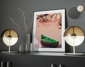 Indonesia Photography, Indonesian Fishing Boat, Fish Boat on Lake, Sunset, Boat Photography, Orange, Fine Art Photo, Indonesia Wall Art