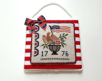 Completed 4th of July cross stitch ornament, Independence day home decor, Patriotic, Americana cross stitch hanger, gift idea.