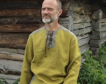 Linen shirt for a man Olive /Rustic shirt /Slavic shirt/ Natural linen shirt/Loose men's shirt