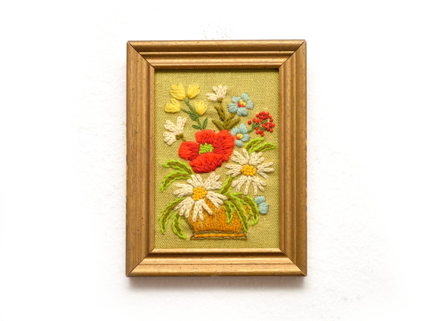 70s Embroidered Wall Art Flowers Yarn Kitsch Brown Floral