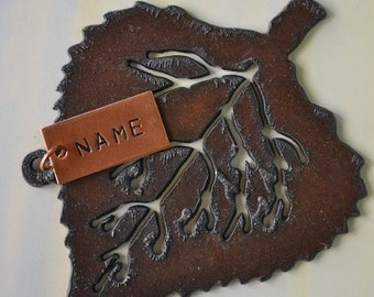 ASPEN LEAF made of Rustic Rusty Rusted Recycled Metal Custom PERSONALIZED Aspen Leaf Ornament or Magnet