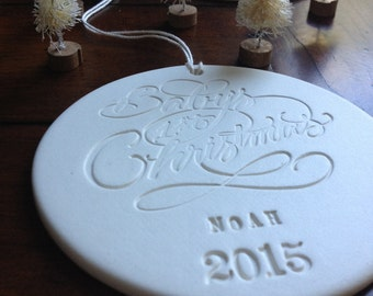 BABY'S FIRST CHRISTMAS custom Christmas Ornament by Paloma's Nest,  personalized calligraphy custom newborn baby gift