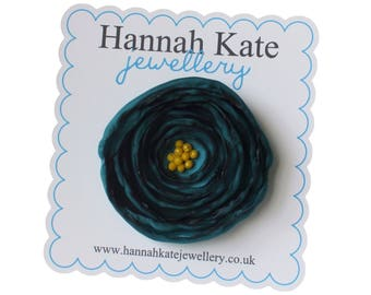 Large Teal Green Fabric Poppy Brooch