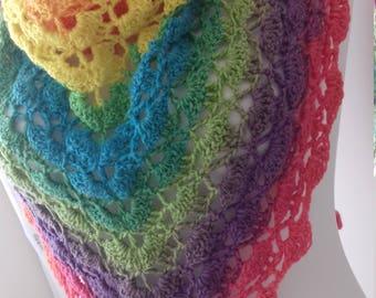 Crochet triangle shawl scarf/Ladies Triangle Scarf/ Ladies Scarf/ Handmade Scarf