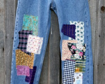 Upcyled patched embroidered hippie boho designer jeans size 9 extra long