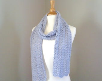 Women's Knit Scarf, Elegant Lace Scarf, Pale Blue, Baby Alpaca Wool, Light Weight All Seasons Scarf, Hand Knit Scarf