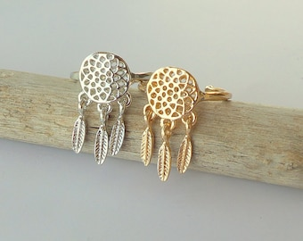 Dream catcher ring / Dream catcher jewelry / feather ring / Statement Ring / Gold, Sterling silver  / Gift for her / Delicate Ring
