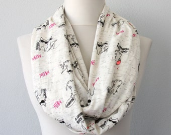 Cat scarf cat infinity scarf animal print scarf cute scarves for women whimsical gift for her loop scarf eternity scarf