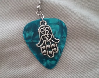 Hamsa Hand and Guitar Pick Earring, Blue Guitar Pick, Hamsa Hand Earring, Men's Jewelry, Guitar Pick Jewelry, Single Earring