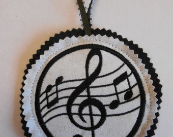 Treble Clef Ornament Christmas Ornament Embroidered Music Felt Ornament