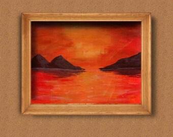 Sunset Acrylic Painting, Sunset Lake, Sunset Painting Original, Sunset Paintings On Canvas, Sunset Wall Art, Sunset Wall Decor, Sunset Decor