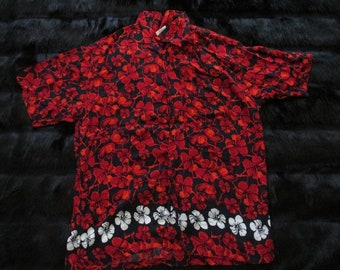 Down Under Hawaiian Shirt Size XL Tropical Red, Black, and White Mens