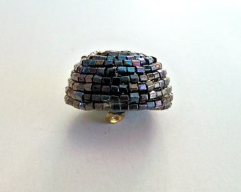 Exquisite Vintage Hand Beaded Button - Dark Blue and Purple Glass Beads