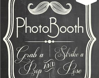DIY. PRINTABLE PDF. Photo Booth Sign. Photo Booth Prop. Photobooth Prop. Photo Booth.Chalkboard Sign, Wedding Reception. Chalk