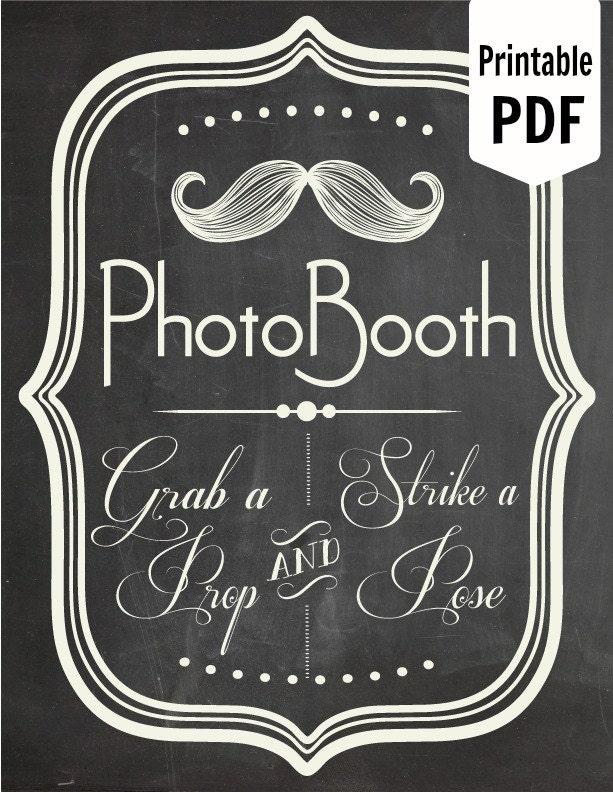 DIY PRINTABLE PDF Photo Booth Sign Prop