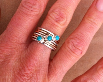 Triple turquoise hammered stack ring silver and gold