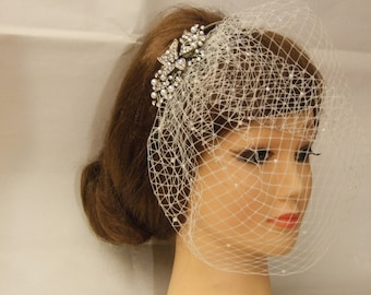 Birdcage veil,  Blusher veil,  French/Russian Net Veil, birdcage veil, Top comb birdcage Veil & Anique gold Headband, Bridal  accessory 2 PC