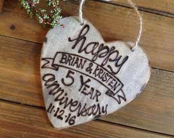 Holiday Ornament 5th Anniversary Wood Lettering Modern Calligraphy Christmas Vintage Rustic Love Married Gift Wedding Personalized Heart