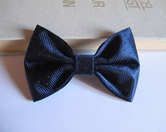 Bow tie, Bobby pin hair 2 in 1 dark blue silk stripe with dots