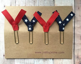 4 patriotic themed ribbon paper clips - 2 red & 2 navy with white stars - gold or silver toned clip - patriotic teacher gift