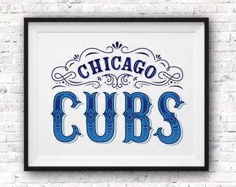 Chicago Cubs Art Print /  Wrigley Field Poster