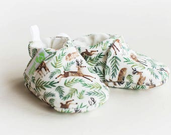 Organic Knits Vegan Oh Deer / All Fabric Soft Sole Baby Shoes / Made to Order / Babies