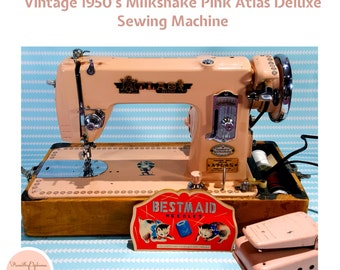 Vintage 1950s Atlas Deluxe Pink Precision Sewing Machine with Case / Mid-Century Pink / Retro Sewing Machine