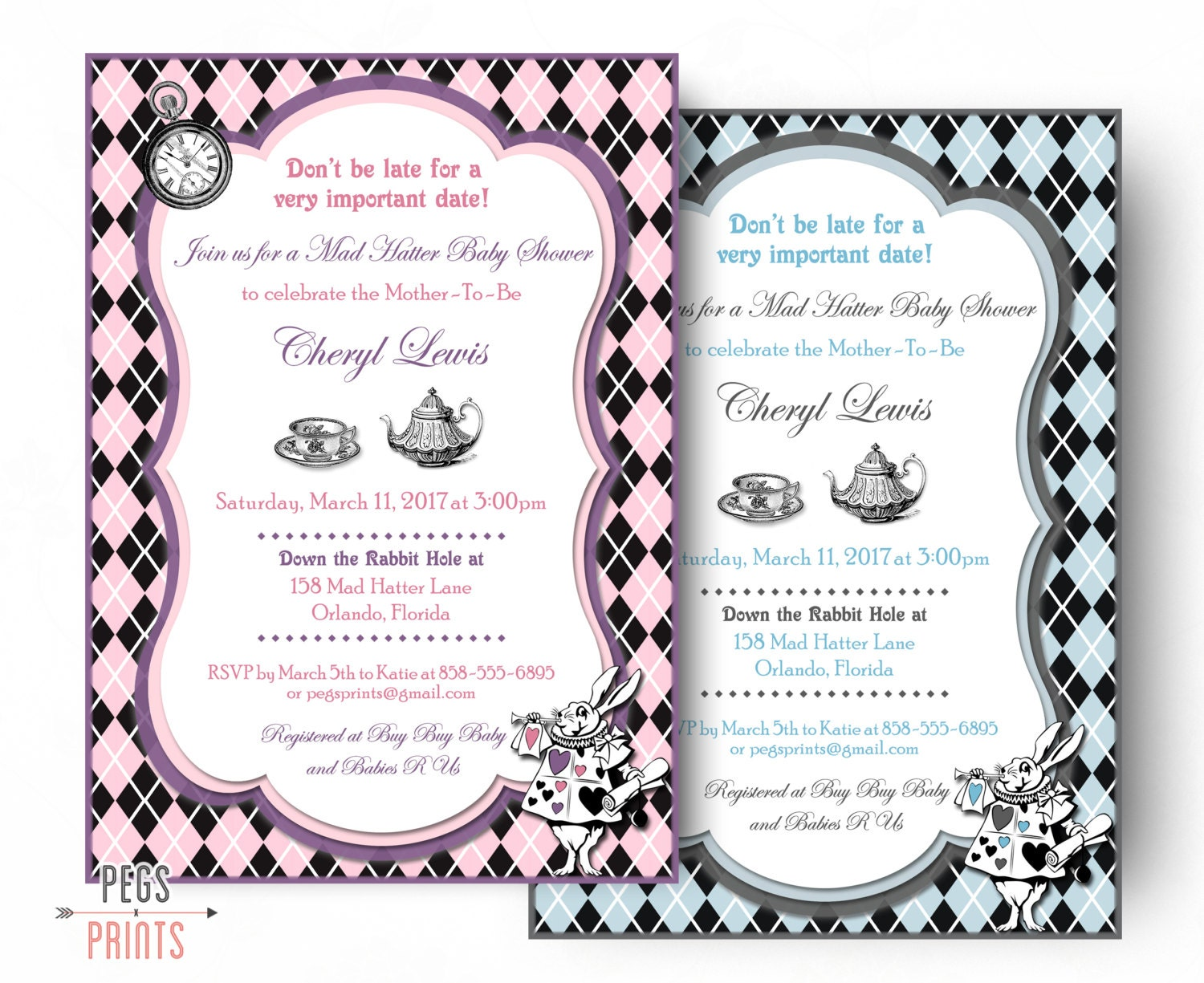 Mad Hatter Baby Shower Invitation Printable Mad Hatter Baby