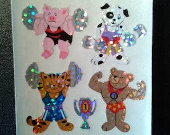 Sandylion Stickers Scrapbooking vintage, ANIMALS weight lifting   (1 mod)