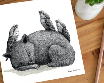 A Very Tired Wombat and Three Frogmouths - ECO Limited Edition Archival Print