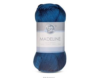 Fair Isle Madeline Acrylic Yarn, Medium Weight Knitting and Crochet Yarn, Vegan Yarn, 100g, Blue Yarn, Blue tone Yarn