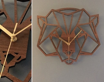 Geometric Bear's Head Clock. Wooden Bear clock - Bear clock. Perfect for Bear lovers. Bear obsessives.