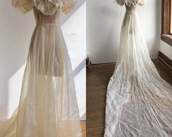 1930s Sheer Cotton Organza Wedding Gown with Looong Train