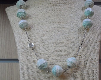 Pearl necklace in hand made wallpaper eco Jewel by Gnègniru up-cycled jewellery made in Italy