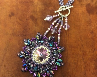 Bead Embroidery Necklace , with Swarovski Crystal