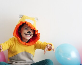 Lion costume, lion sweatshirt, lion hoodie, kids hoodies, boy clothes, girl clothes, Halloween costume, birthday lion, photo props, the lion