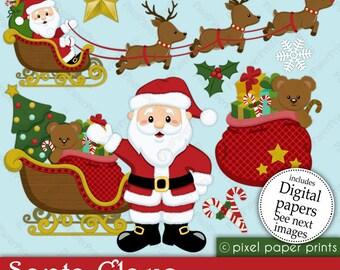 Christmas clipart - Santa Claus - Clip art and Digital paper set