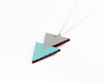 Geometric, double triangle wooden necklace - grey, aqua blue - minimalist, modern jewelry - color blocking