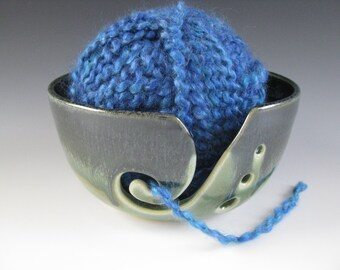 Ceramic Pottery Yarn Bowl Knitting Bowl in Midnight Blue and Spearmint Green