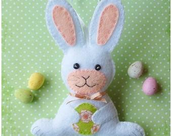 Felt Bunny Ornament PDF Sewing Pattern