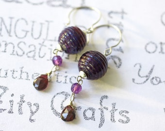 Garnet Red Silver Earrings  Long Lamp Work Boho Earrings  Long Gemstone Silver Drop Earrings  Long Purple Sterling Silver Drop Earrings
