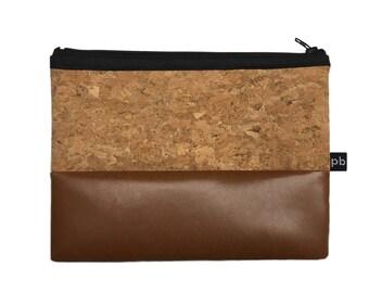 Pb_pochette Medium, leather clutches tan and cork, handmade, hand bag, glove case, tricks holder