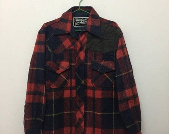15% SALE Vintage Wool Flannel Shirt/Red Blue Yellow/Size L
