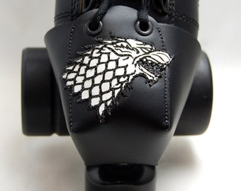 Leather Skate Toe Guards with the Dire Wolf