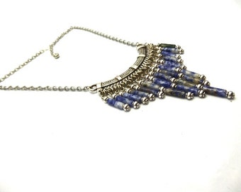 Ethnic necklace beads agate gradient blue Chadha tubes