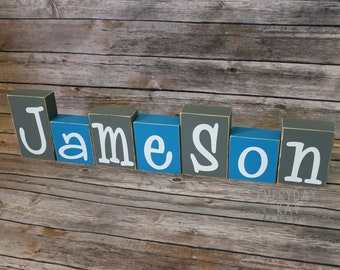 BABY NAME BLOCKS baby name block baby shower blue and gray nursery decor personalized blocks baby, personalized baby gift, nursery decor