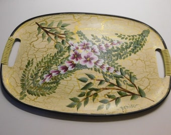 Hand painted fiberglass serving tray with bamboo wrapped handles with vines and flowers design