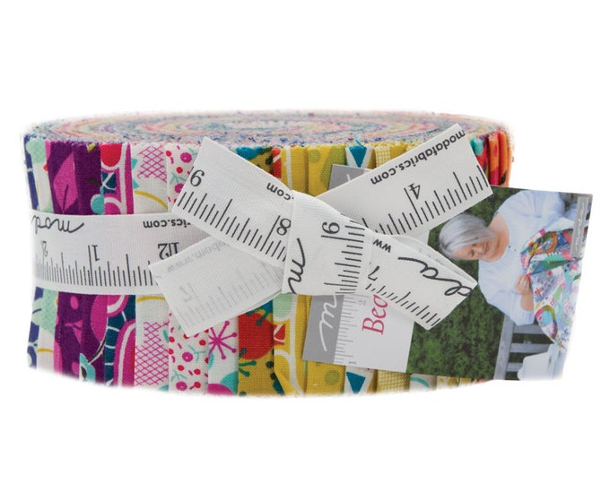 Featured listing image: Beach Road Jelly Roll by Jen Kingwell for Moda Fabrics, 40 pieces 2.5 inch fabric strips--colorful bright--18132JR Moda Precuts